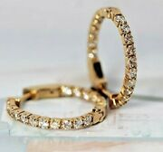 Igi Certified 1.20ct Natural Round Diamond 14k Solid Yellow Gold Hoops Earring