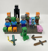 Minecraft Lot Of Lego Minifigures Steve Dragon Slayer Pig And More Authentic Euc