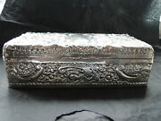 Victorian English Cigarette Box Sterling Silver -chased Made In Birmingham 1899