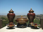 Vintage Beautiful Chinese Jingfa Brass Cloisonne Urns Vases Set Wooden Stand