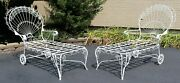 Mid Century Modern Salterini Twisted Wrought Iron Patio Pair Chaise Lounges 50s