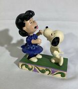 """Jim Shore Snoopy And Lucy Figurine """"agh I've Been Kissed By A Dog"""" Enesco 4055941"""