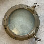 """Antique Heavy Bronze Brass Ship Porthole Opens W/ 2 Dog Locks About 17"""" Total"""