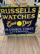 Russells Watches Andldquothe Time O Dayandrdquo Large Porcelain Sign- Advertising-jb81