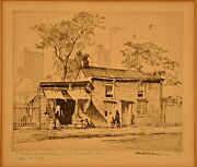 Chester Price Original Vintage Signed Old House City Engraving Drypoint Etching
