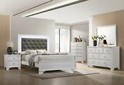 4pc Glamorous Master Bedroom Set Queen Size Bed Led Headboard Wooden Furniture