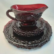 Avon Cape Cod Ruby Red Collection Dinner Plates-3 Dessert Plates -3 And Gravy Boat