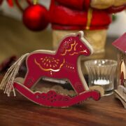 Rocking Horse Light Up Led Red Natural Christmas Nursery Decorations Tree Gifts