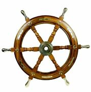 24 Boat Ship Wooden Steering Wheel Brass Centre Antique Nautical Wall 2856