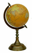 Brass 16 World Globe And Map On Aluminum Stand Home Office Desk Antique 0561