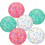 6 Pieces Donut Party Hanging Paper Lanterns Baby Shower Donut Lanterns For Baby