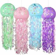 4 Pack Little Mermaid Party Decorations, Jellyfish Paper Lanterns Kit, Baby Show