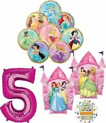 Disney Princess Party Supplies 5th Birthday Balloon Bouquet Decorations With 8 P