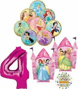 Disney Princess Party Supplies 4th Birthday Balloon Bouquet Decorations With 8 P