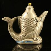 Chinese Tibetan Silver Hand Made Carved Fish Statue Teapot W Kangxi Mark
