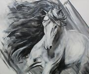 And039loveand039 Professional Canvas Limited Edition Wild Running Horse Print By J. Hill