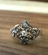 Antique Rose Gold Grey And White Rose Cut Diamonds And Seed Pearls Ring Size 6.25