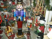 Life Size Nutcracker 5 Foot 9 Color Changing Lights Musical Christmas Rare