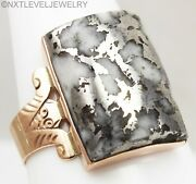 Antique Victorian Rare Natural Silver In Quartz 14k Solid Rose Gold Menand039s Ring