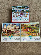 Lot Of 3 Charles Wysocki 1000 Piece Puzzles - Holiday - Landscapes - Primitive
