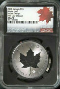 2018 Canada Silver 5 Maple Leaf Incuse Design 30th Anniversary Ngc Ms-70