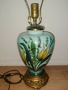 Vintage Hand Painted Table Lamp Aqua With Teal Green And Gold Works