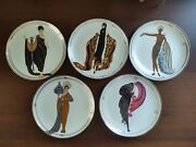 Amazing House Of Erte 5 Plates Franklin Mint Limited Edition Excellent Condition