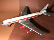 """Vintage Cragstan Japan Twa Boeing 707 Battery Operated 18"""" Wing Tin Toy 1960s"""