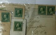 Used 1910 1912 Benjamin Franklin One Cent Rare Bluish Green Stamp On Post Card
