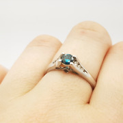 14ct 0.25ct Blue Diamond White Gold Ring Val 2330 Size L 35552