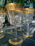 6 St Louis Crystal Thistle Gold Wine Goblets 6.3/8 Mint Condition W Orig Box 3