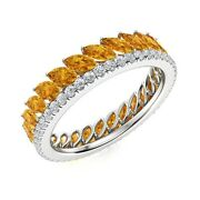 3.09 Ctw Marquise Cut Citrine And Diamond Full Eternity Band Ring 14k White Gold