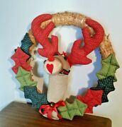 Ruby The Red Nose Reindeer Wreath Decoration For Outdoor Holiday