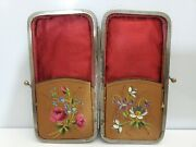 Antique Leather And Silver Cigar / Cigarette Case / Hand Painted Flowers  3567/17