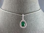 .91ct Diamond And Aaa Emerald 18kt White Gold Pear Shape And Round Floating Pendant