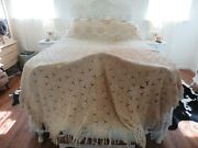 Gorgeous Antique Crochet Bedspread Snowflake Pattern Hand Made W/fringe