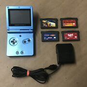 Gameboy Advance Sp Ags-001 Limited Edition Surf Blue With Charger And Games