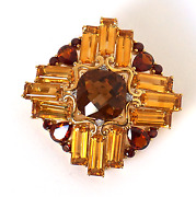 Vintage 14k Solid Yellow Gold And 20k Garnet And Citrine Pendant Brooch Fine Jewelry