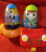 Weebles Wobble Figures Lot Hasbro 2009 W Motorcycle W/ Sidecar Great Used Toy