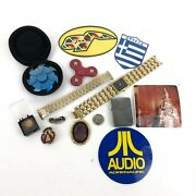 Small Jewelry Lot Yard Sale Junk Drawer Gold And Silver Tones Pins Watch Zippo