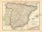 1911 Large Victorian Map Spain And Portugal Balearic Islands Majorca