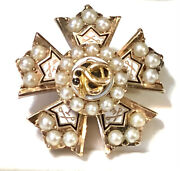 Sigma Nu 14k Rose Gold Ruby Snake Seed Pearls Enamel 1900s Fraternity Pin 6.61g