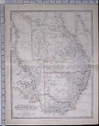 1881 Large Antique Map South Australia New South Wales Victoria Queensland