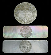 Rare 3 Stunning Tokens Game Mother-of-pearl2 Blazon Of Families Nobles. Xviii