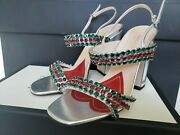 New Authentic Open-toe Sandal Womens - Argento/silver With Crystals - 6m