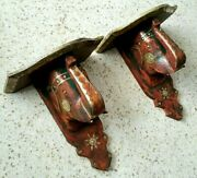 Vintage Thailand / India Carved Wood And Brass Elephant Brackets Set Of 2