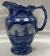 Maling Newcastle-on-tyne England Blue And White Transfer Ware 6-3/8andrdquo Pitcher
