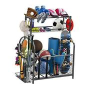 Garage Sports Equipment Storage Organizer With Baskets And Hooks - Easy To