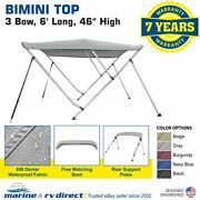 Bimini Top Boat Cover 46 High 3 Bow 6and039 Ft. L X 54 - 60 W Gray Rear Poles