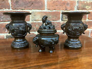 Rare Antique Chinese Bronze Censer With Matching Pair Of Vases Signed.
